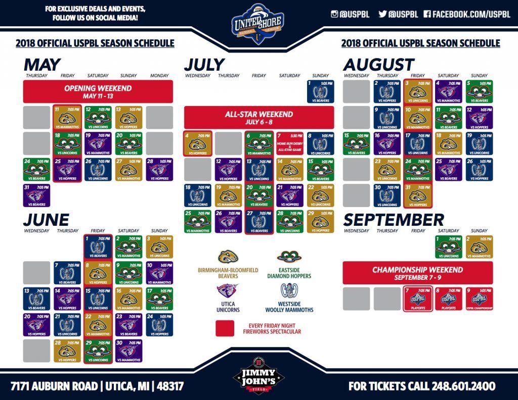 Printable Schedule – United Shore Professional Baseball League