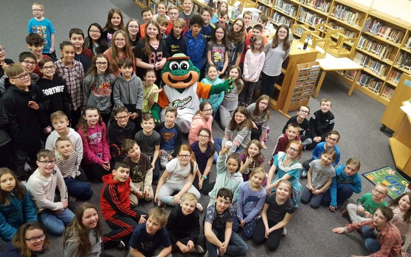 Ribbi from the Eastside Diamond Hoppers visits students at Naldtrett Elementary in Anchor Bay.