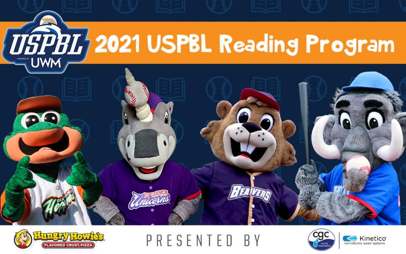 Announcement of the USPBL reading program with a new logo and all the mascots present