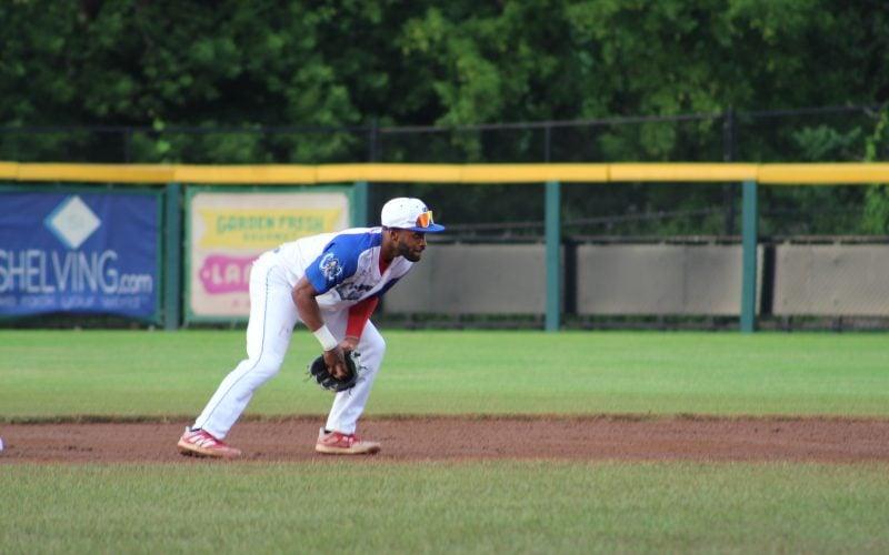 An utica unicorns baseball player on the field