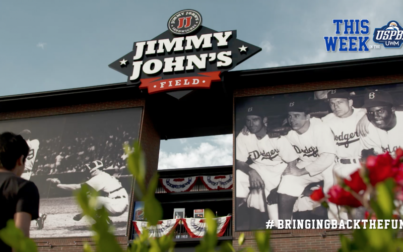 Jimmy Johns's field sign at the venue entrance